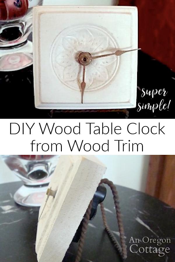 DIY table clock from wood trim pin