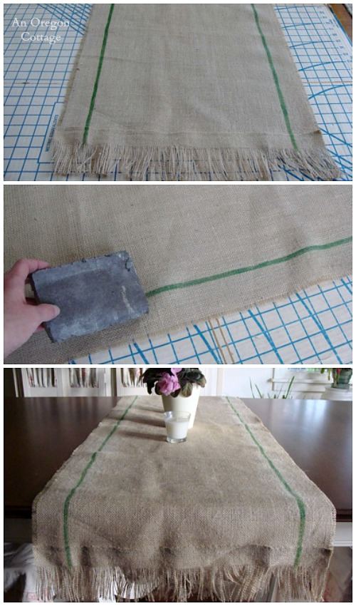 Easy Painted Burlap Runner - An Oregon Cottage