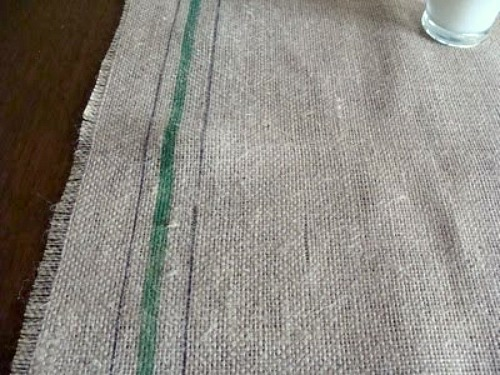 Faux Grain Sack Painted Burlap Runner - An Oregon Cottage