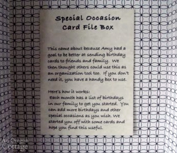 Greeting Card Organizer directions