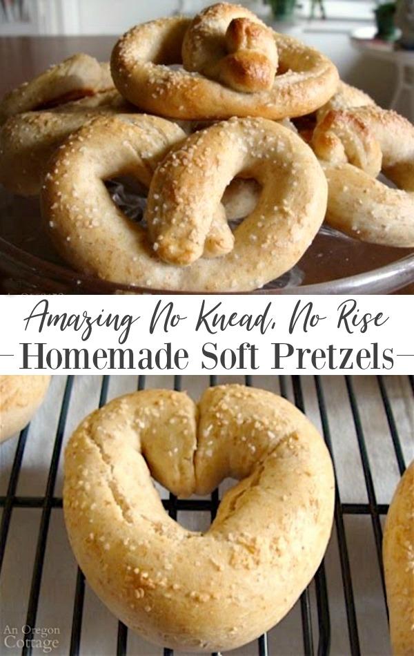 Amazing recipe for homemade no knead no rise soft pretzels. #recipe #pretzels