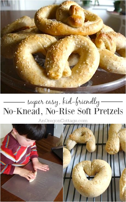 Our kids LOVED making these easy no-knead, no-rise soft pretzels! The bonus is that they taste great, too!