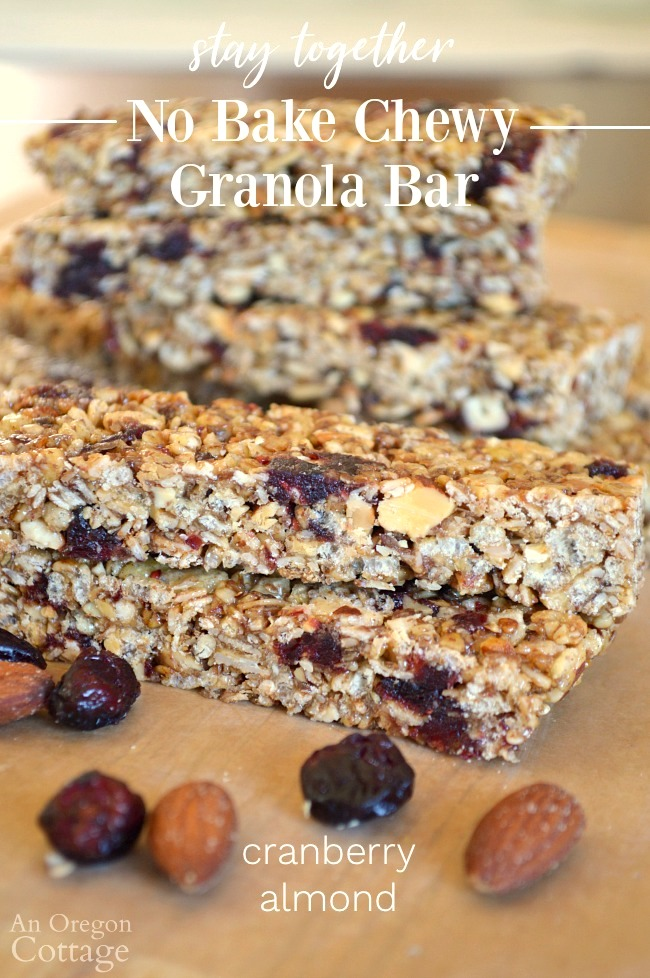 No-bake Chewy Granola Bars-Cranberry Almond
