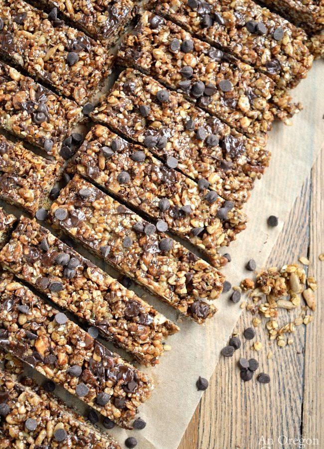 Chewy Granola Bars on cutting board