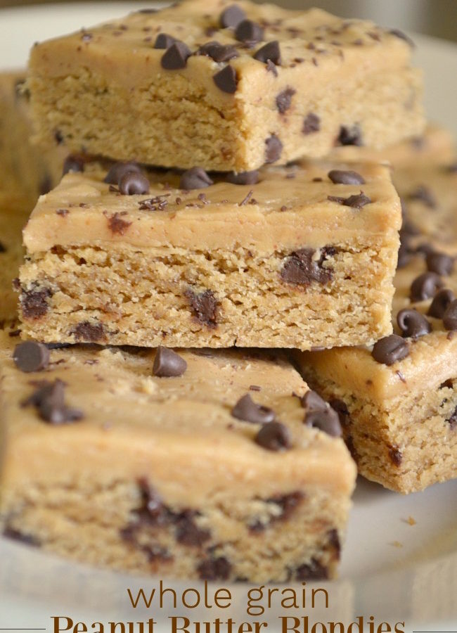 Whole grain peanut butter blondies with chocolate chips on a plate