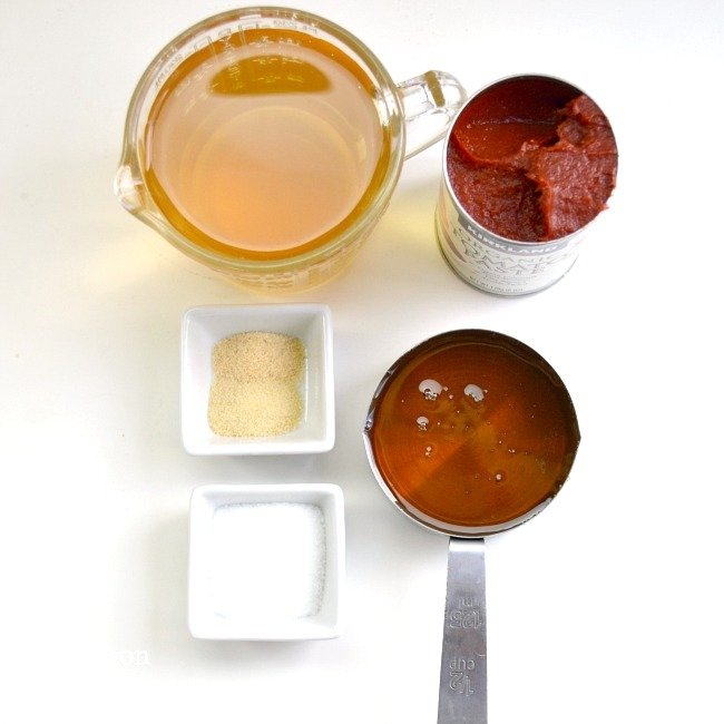 Honey Sweetened Homemade Ketchup ingredients