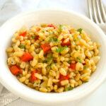 Vegetable Barley Pilaf in bowl