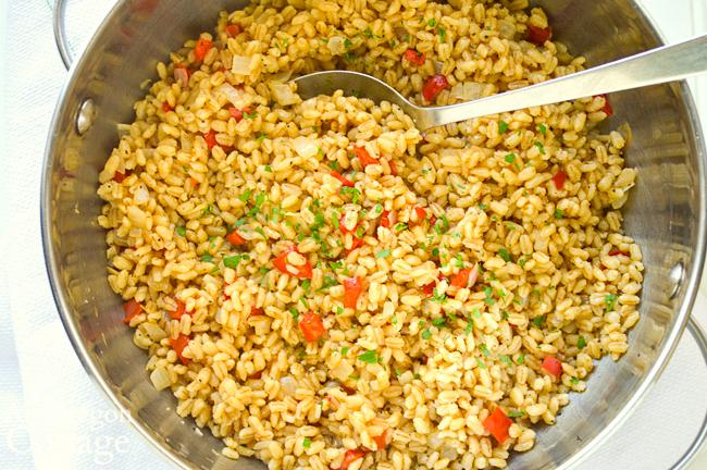 barley pilaf in cooking pot