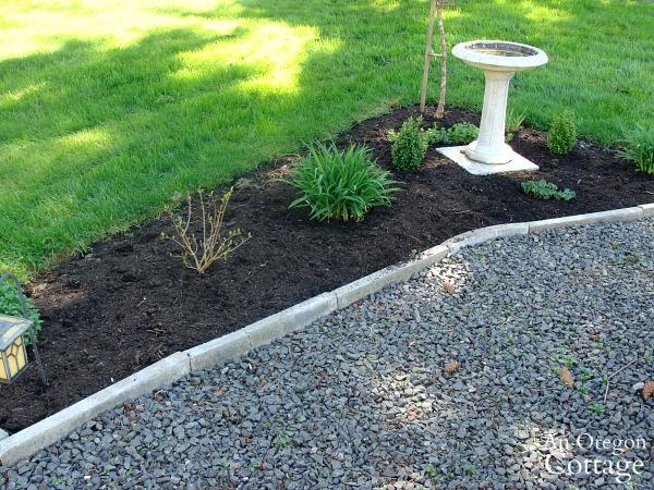 freshly mulched weed free bird-bath bed