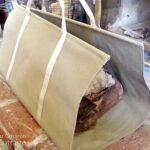 Canvas log carrier on hearth