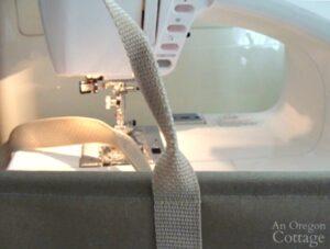 sewing webbing handles for log carrier