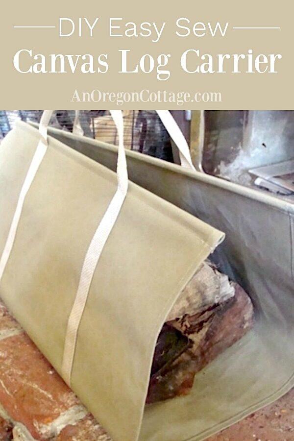 DIY easy sew canvas log carrier
