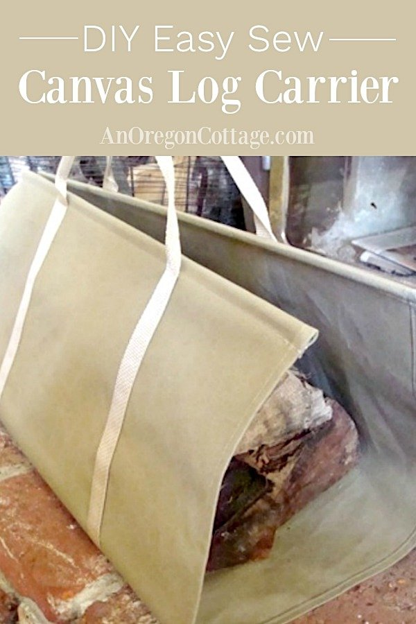 DIY easy sew canvas log carrier
