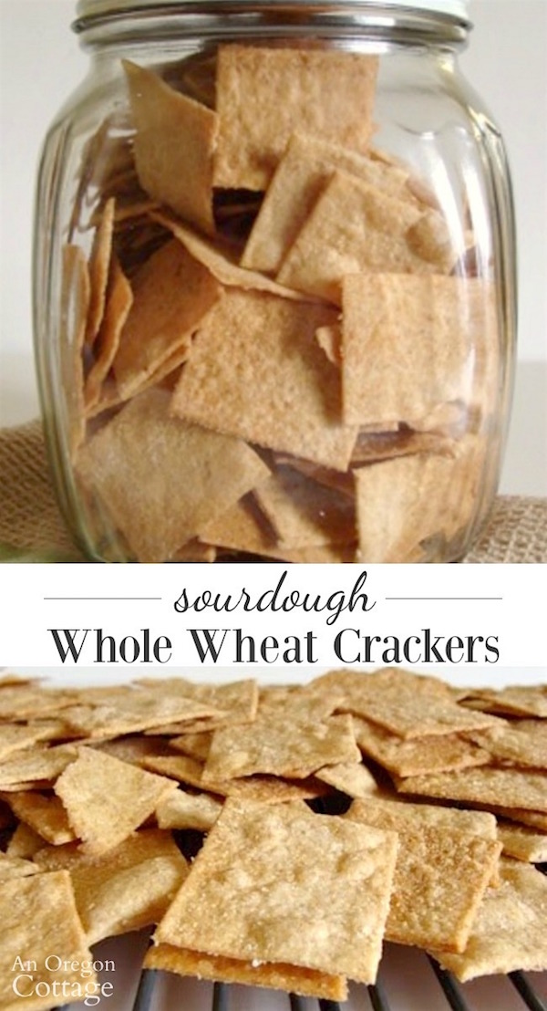 Sourdough whole wheat crackers in jar and rack