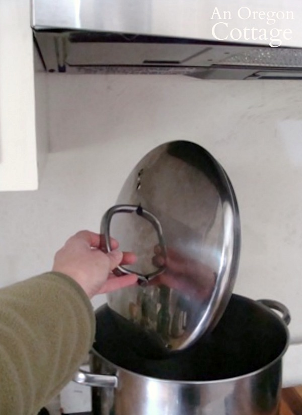 large stockpot under new microwave