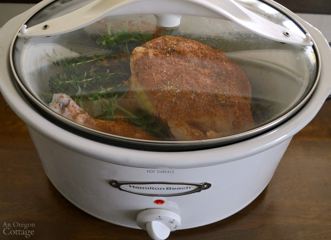 Cooking Rotisserie Style Spiced Whole Chicken in a slow cooker