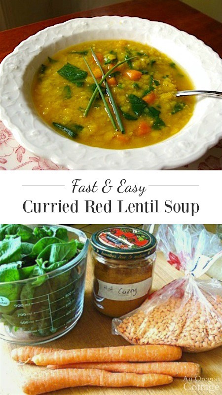 Fast and easy curried red lentil soup is a healthy weeknight meal with lots of flavor.