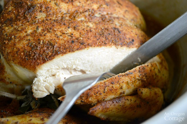 Moist Slow Cooker Spiced Whole Chicken breast