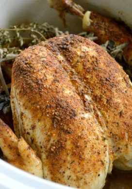 Rotisserie Style Slow Cooker Spiced Whole Chicken