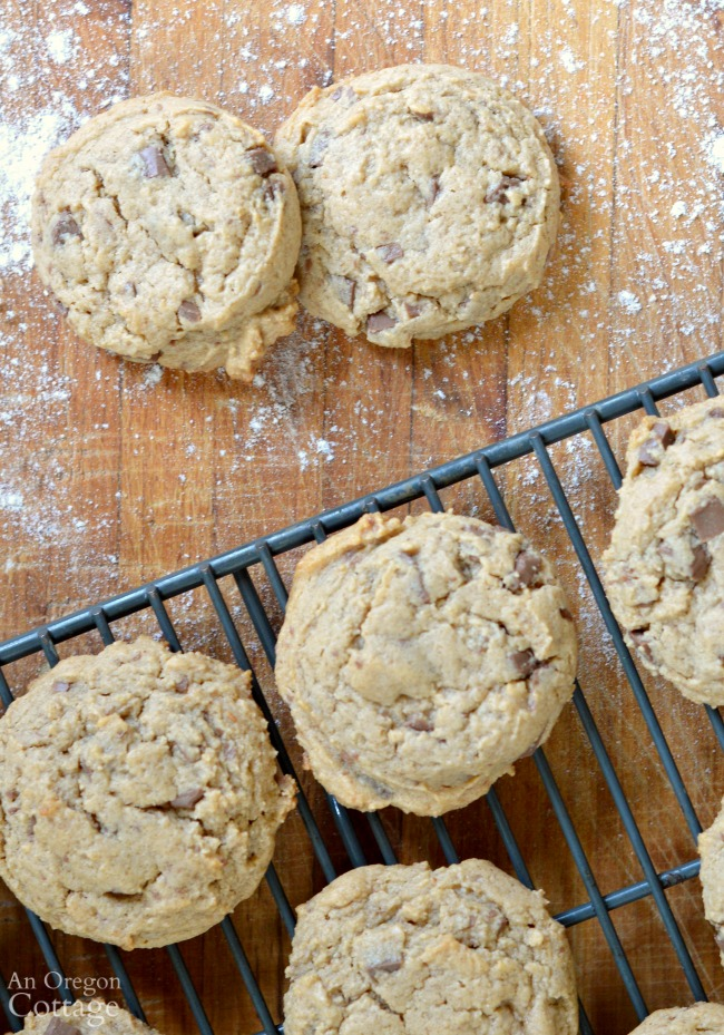 Soft And Chewy Whole Grain Peanut Butter Cookies made with honey and whole wheat.