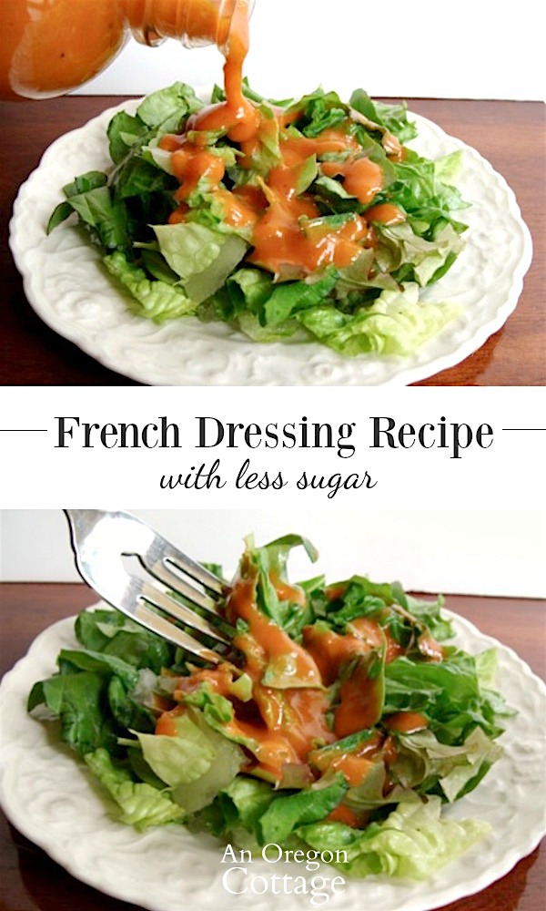 A super easy, lower sugar American-style French dressing for salads that is sweetened with honey and includes fresh onions for a brighter flavor.