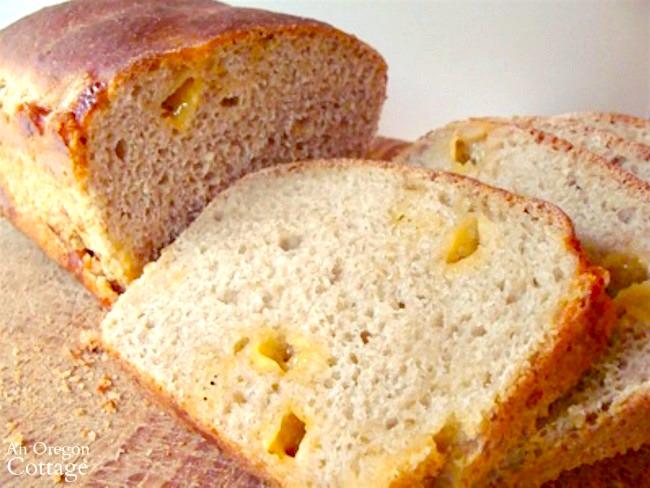 Cheesy Sourdough Batter Bread sliced