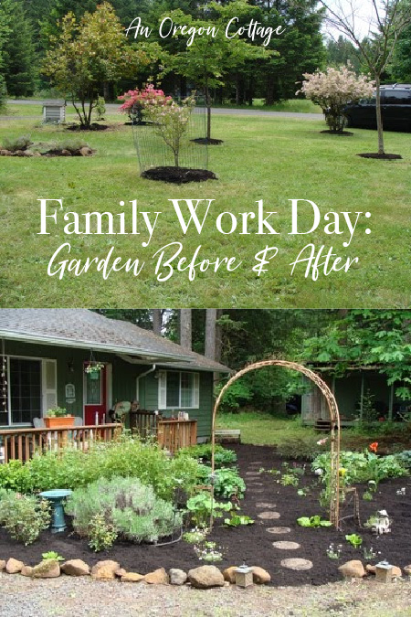 Family work day: garden before and after