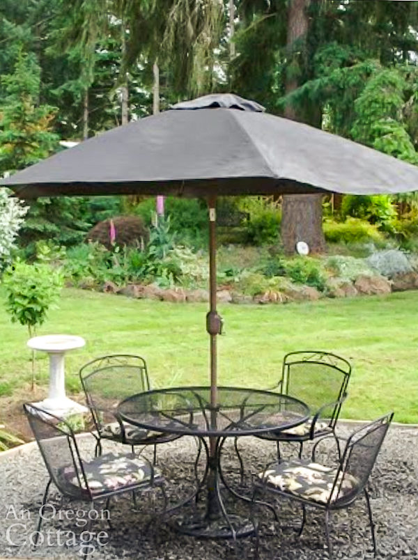 painted outdoor umbrella with table
