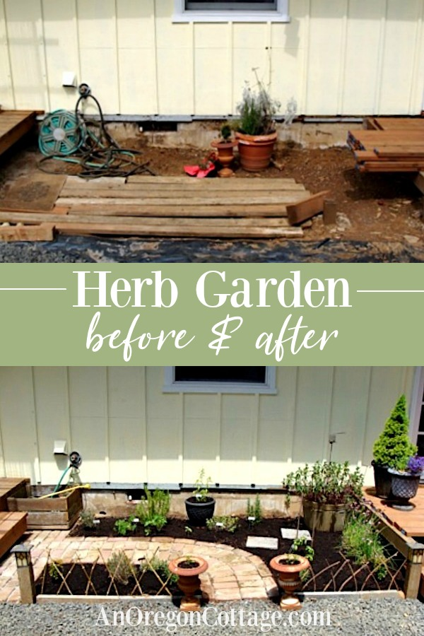 Herb garden before and after