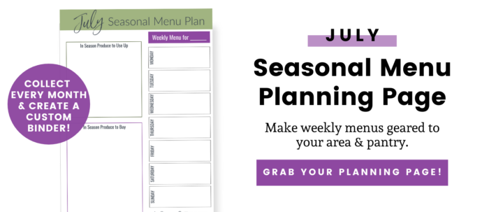 July meal planning page opt-in
