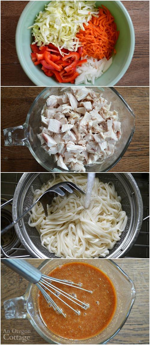 Making Spicy Chicken Noodle Salad