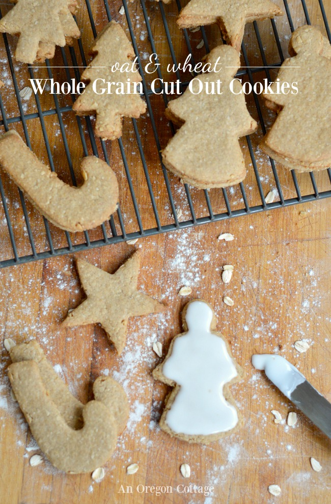 Add a healthy spin to your frosted Christmas cookies with this recipe for Whole Grain Cut Out Cookies made with oats, whole wheat, and brown sugar.