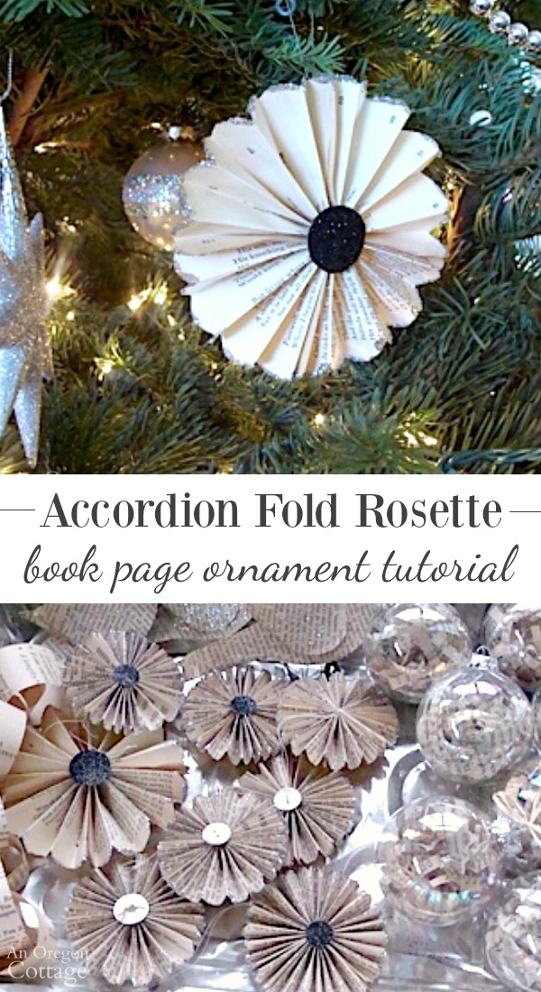 Accordion fold rosette book page ornament tutorial (or use with any paper!)
