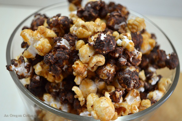 Bowl of Homemade Moose Munch Honey Caramel Corn - An Oregon Cottage