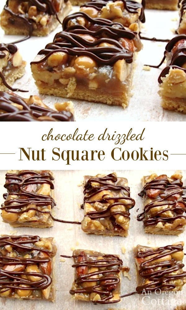 Chocolate drizzled nut squares are cookies you'll love to share - and keep! #cookies #caramel #chocolate
