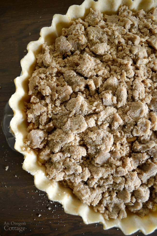 Crumb-Topped Apple Pie ready for the oven