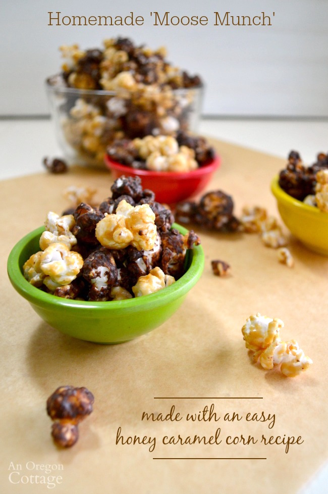 You CAN easily make a homemade version of 'Moose Munch' - that caramel corn with chocolate coating! It's easy with this honey-caramel-corn recipe (really - no thermometer needed) and makes the BEST gift.