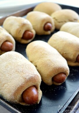 Homemade Pigs in a Blanket on baking sheet