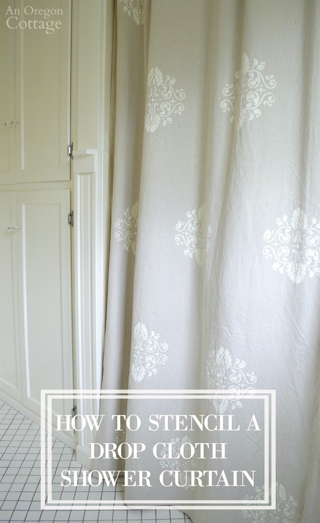 How To Easily Stencil A Drop Cloth Shower Curtain To Give Your Home A  Custom Designer