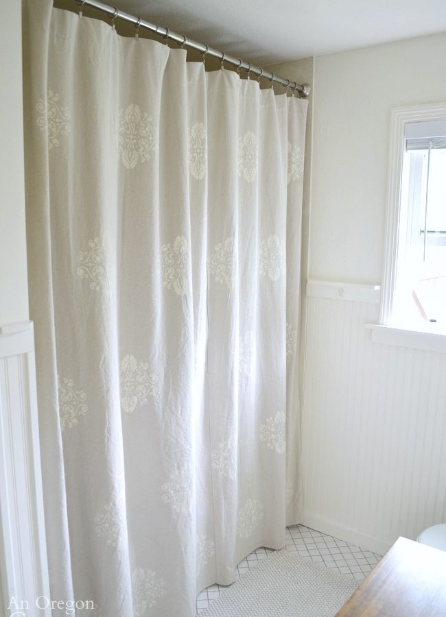 Easy, DIY Stencil Drop Cloth Shower Curtain