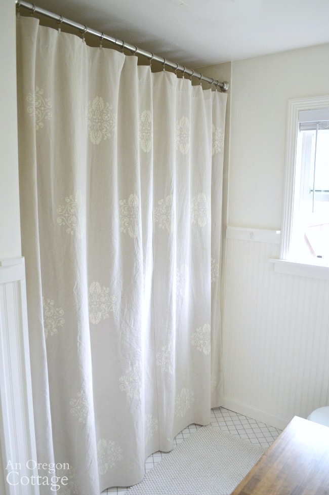 Merveilleux Easy, DIY Stencil Drop Cloth Shower Curtain