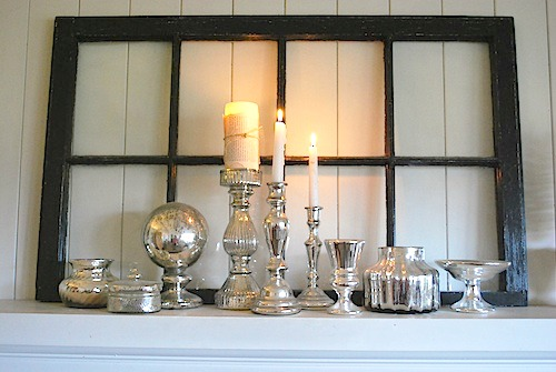 Mercury Glass Winter Mantel