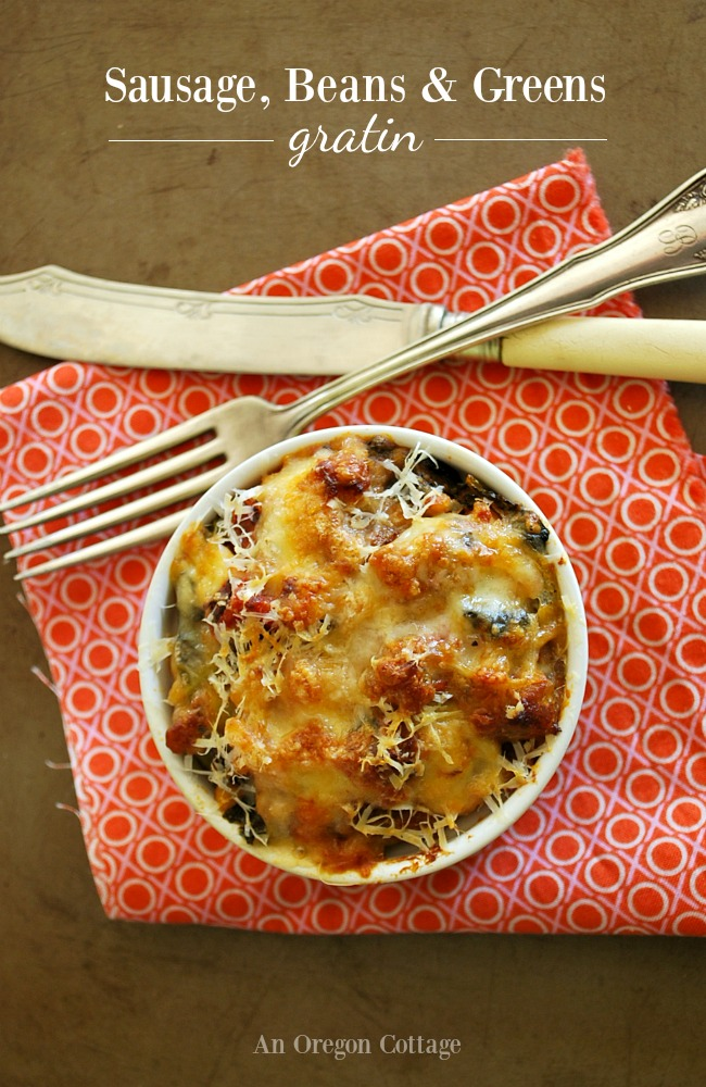 Sausage Beans and Greens Gratin in ramekin