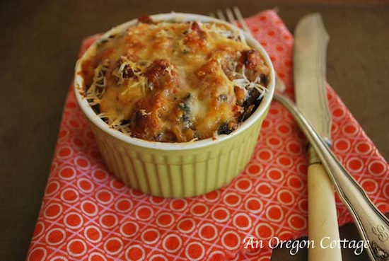Sausage, bean and any green (kale, chard, spinach) gratins make a healthy, clear-the-pantry meal.