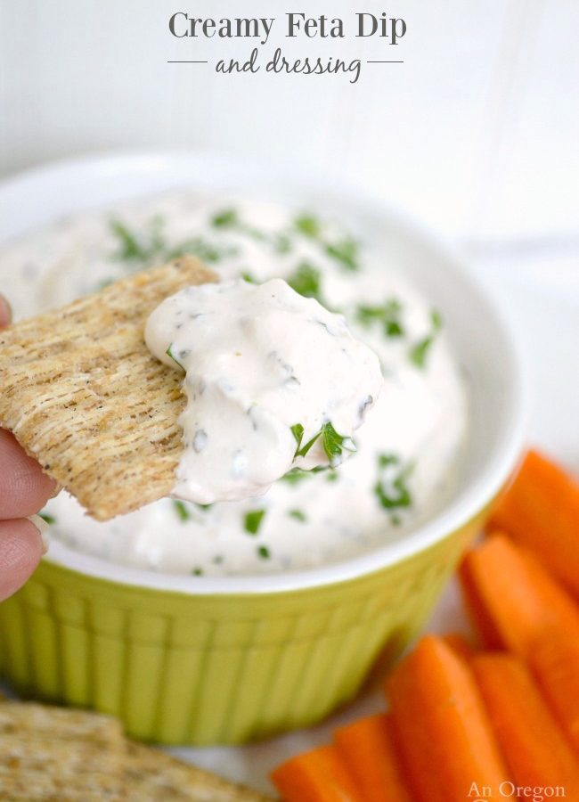 Creamy Feta Dip-which becomes a dressing with thinning-is SO easy to make, you'll never go back to store-bought!