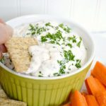 Creamy feta dip on cracker