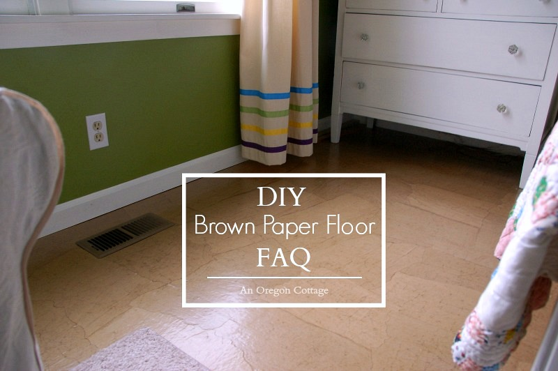 DIY Brown Kraft Paper Flooring is an easy to do, inexpensive update that looks a little like leather and wears like wood floors