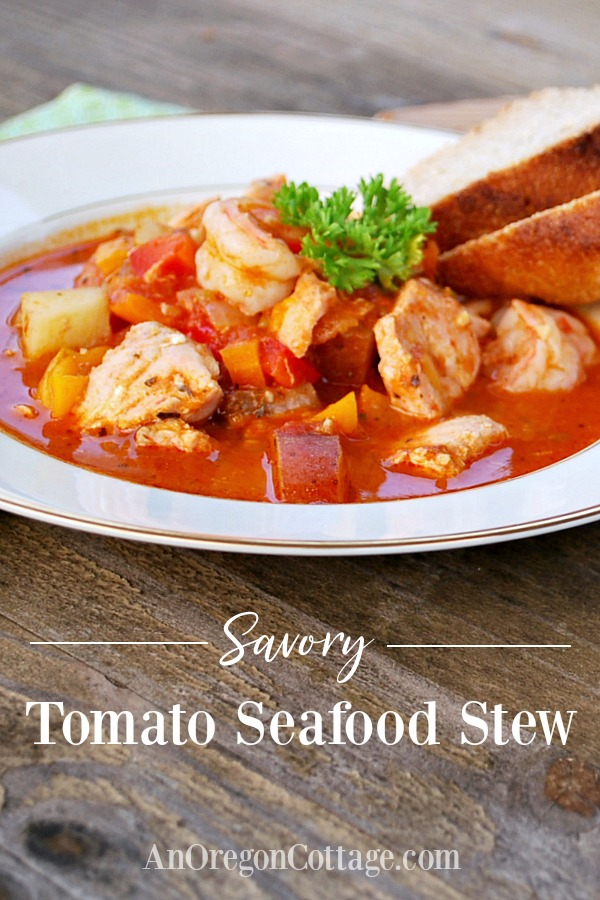 Savory tomato seafood stew in bowl