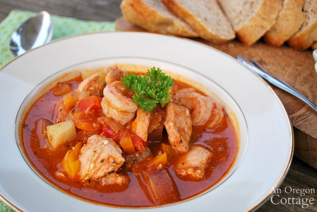 tomato seafood stew close in bowl