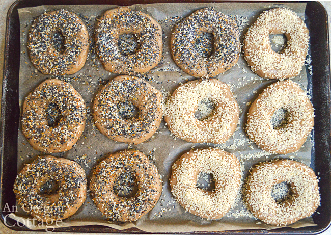 topping sourdough bagels before baking